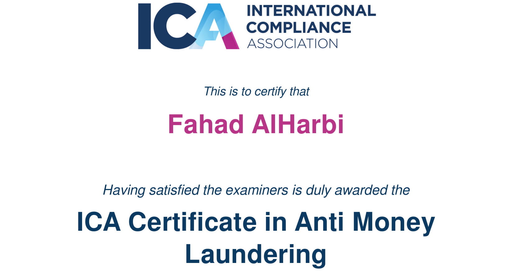 Fahad Hizam alHarbi, CFCS, CAMS - Certified in Anti-Money