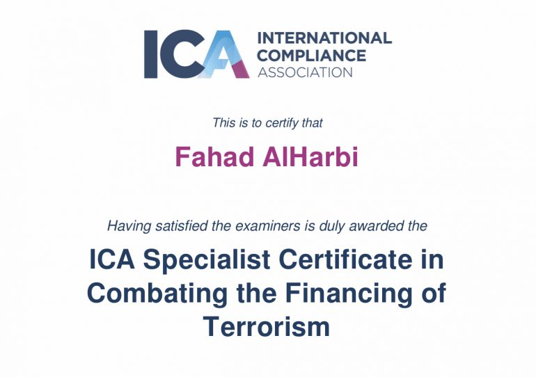 ICA Specialist Certificate in Combating the Financing of